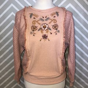 Knox Rose Blush Embroidered Sweater Size Small